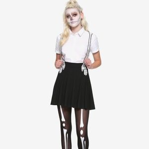 Hot Topic Skeleton Suspender Skirt Size Small NWT